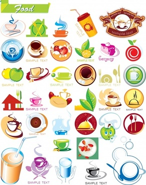 food drink logotypes templates colorful flat 3d icons