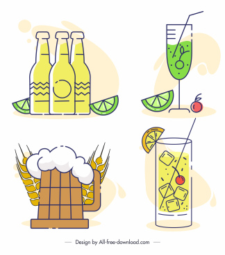 drinks icons beer wine cocktail sketch flat classic