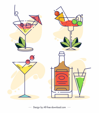 drinks icons cocktail wine sketch flat handdrawn