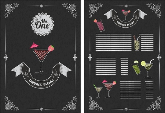 drinks menu design vintage style on dark background