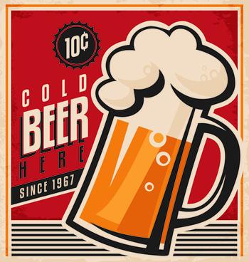drinks poster retro styles vectors
