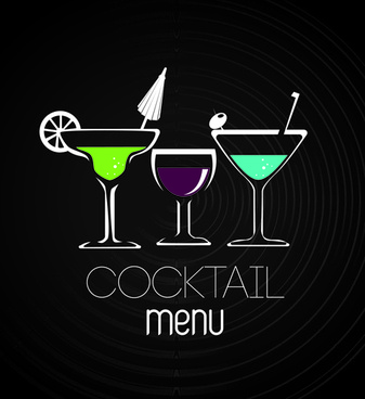 drinks restaurant menu cover vector