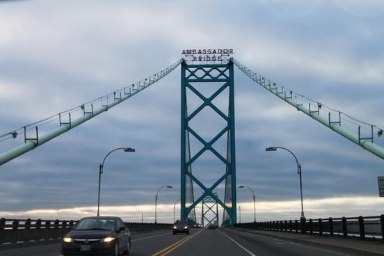 driving over ambassador bridge