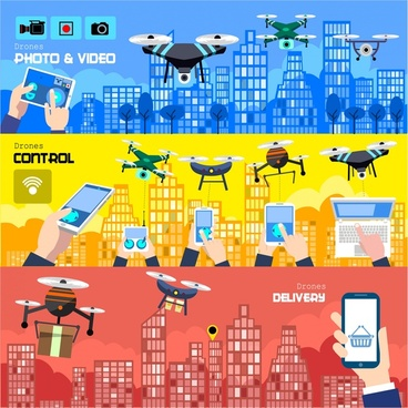 drones promotion banners illustration with application concepts