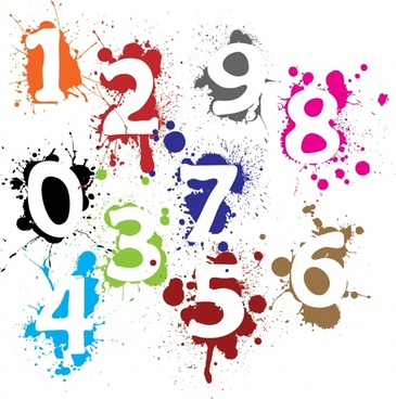 numeral background colorful flat grunge decor