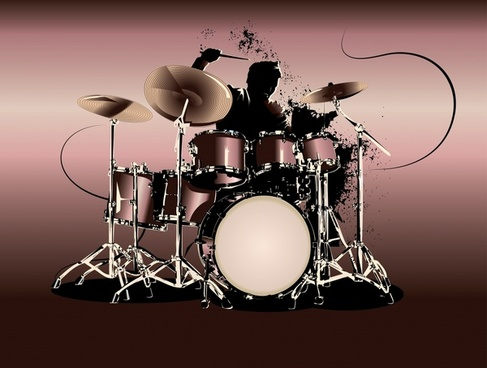 drum music icon dynamic grunge silhouette modern design