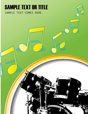 music banner template drum instrument notes decor