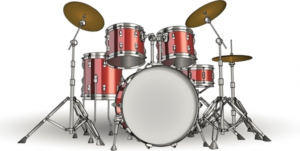drum instrument icon shiny colored modern 3d sketch