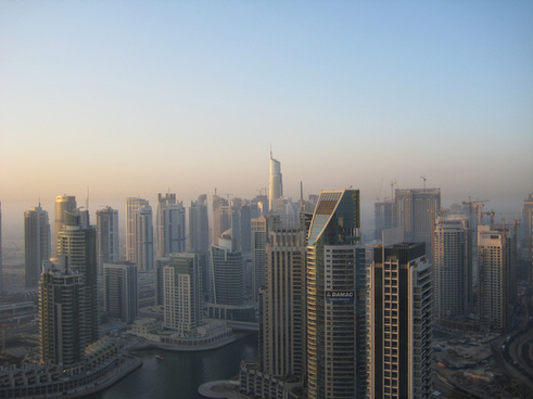 dubai skyline morning