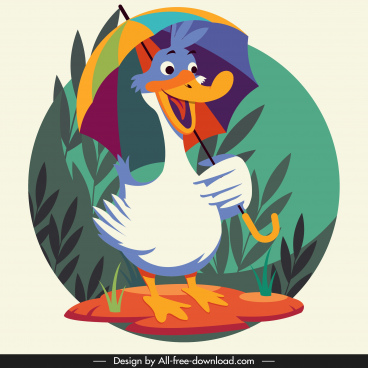 duck animal icon cute cartoon character stylized design