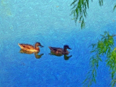 ducks in a pond painting
