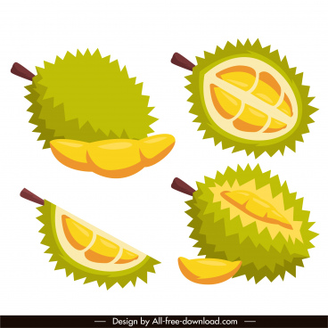 durian fruit icons bright colored classic sketch