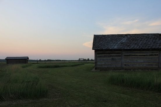 dusk view of indian settlement at prophetstown state park indiana