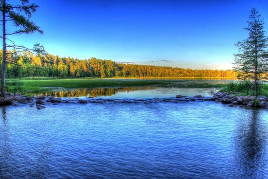 dusk view of the mississippi source at lake itasca state park minnesota