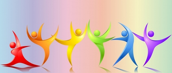 dancing human icons modern colorful swirled shapes design