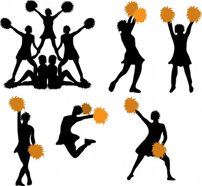 sports supporter icons dyanamic silhouette sketch