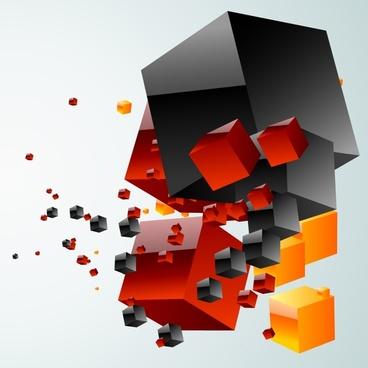 cubic box background modern dynamic 3d design