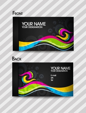 business card templates modern colorful dynamic curves decor