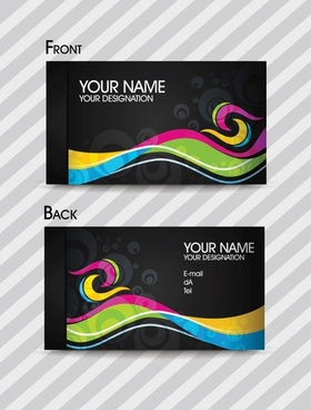 dynamic color business card templates 02 vector