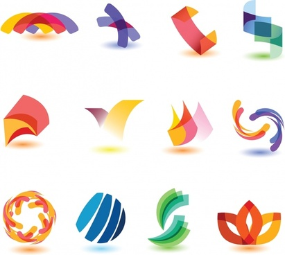 decorative elements icons modern colorful dynamic 3d shapes