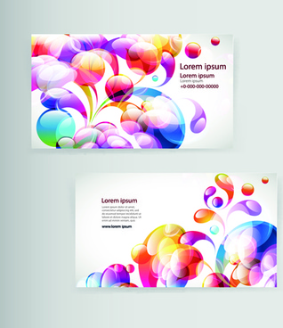 dynamic colored elements business cards vector