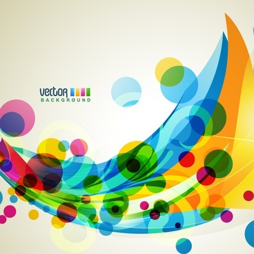 decorative background template dynamic colorful circles curves design