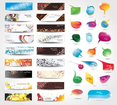 dynamic colorful banner and dialog boxes vector