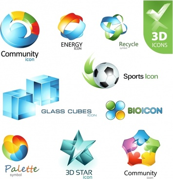 3d logo templates shiny colorful modern shapes