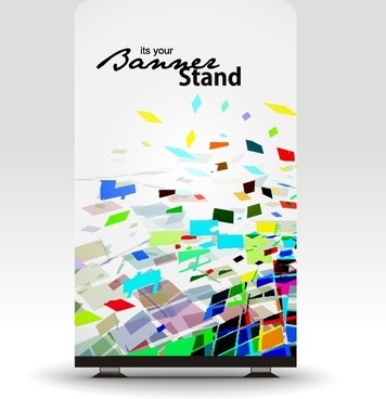 banner template standee shape modern colorful dynamic decor