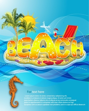 beach vacation background colorful sea elements texts decor