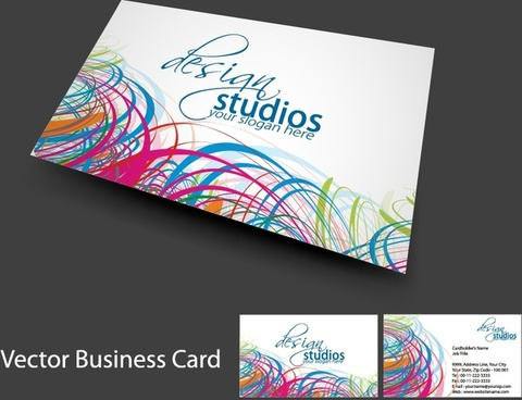 studio business card template colorful messy swirled lines