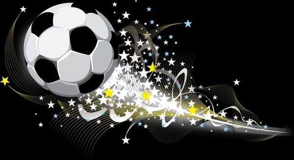 soccer background ball sparkling motion stars light decor