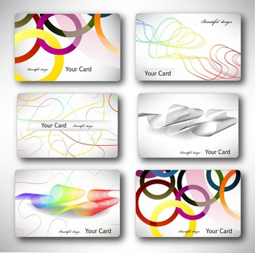 cards templates modern colorful bright circles curves decor