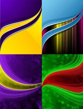 dynamic lines background colorful vector set
