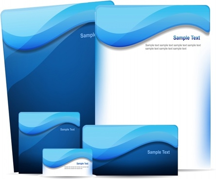 brochure card background templates blue waves decor