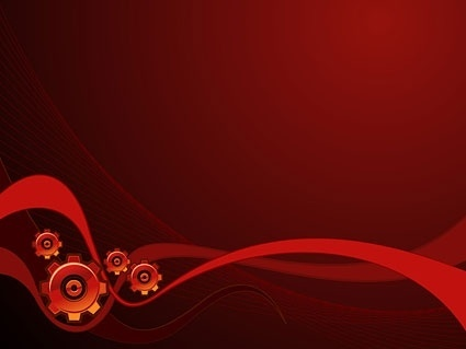 dynamic lines of the red background and gear