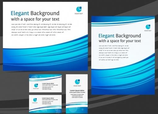 business card templates modern blue white curves decor