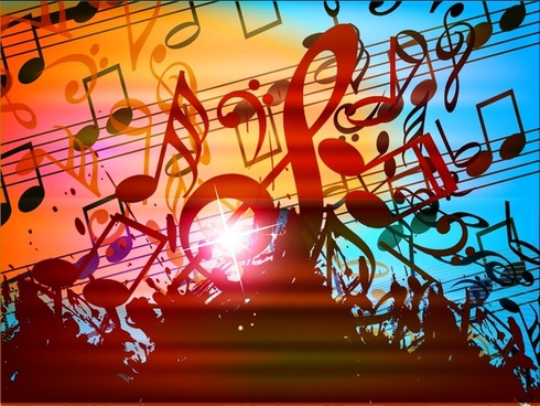 music notes background modern dynamic messy grunge decor