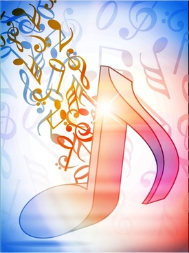 music notes background sparkling dynamic 3d decor