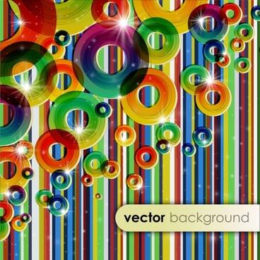 decorative background modern sparkling colorful circles stripes
