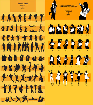 dynamic silhouette peoples vector