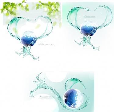 ecological background globe water splash leaf icons decor