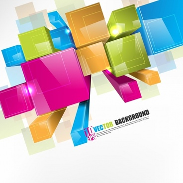 dynamic threedimensional colored boxes vector