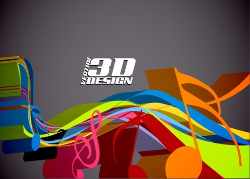 music notes background modern colorful dynamic 3d design