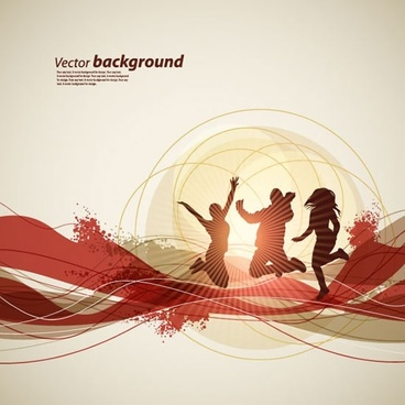 active life background dynamic people silhouette dynamic design