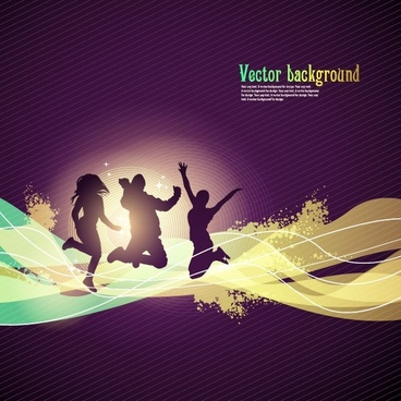 dynamic trend of the flow line silhouette figures 01 vector