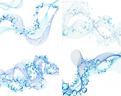 dynamic background sets blue curves bubbles icons decor