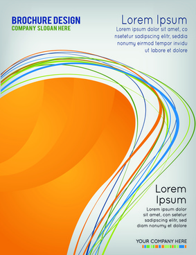 dynamic wave business style brochure cover vector