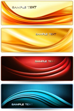 dynamic waves banner design elements vector