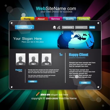 dynamic web navigation template vector